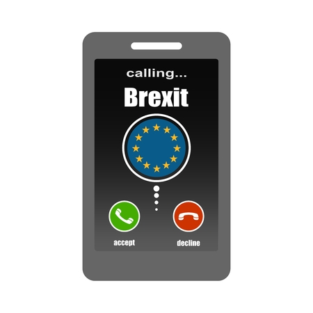 Smartphone with call screen. Ready for answer concept. Image relative to politic situation between great britain and european union. Politic process named as brexit. Brexit calling text