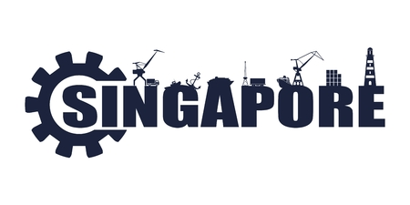 Gear with sea shipping and travel relative silhouettes.. Calligraphy inscription. Singapore city name text