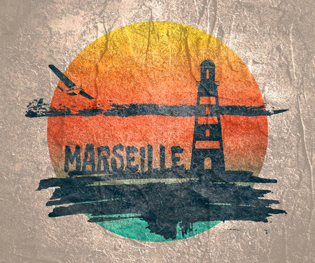 Lighthouse on brush stroke seashore. Clouds line with retro airplane icon. illustration. Marseille city name text.