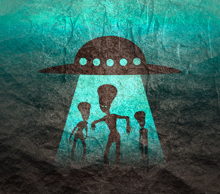 UFO and extraterrestrial alien silhouttes. Monsters attack at sunset Stock Photo