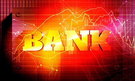 Industrial background. Abstract backdrop with orange light spot. Bank word. 3D rendering
