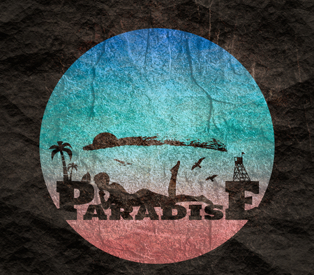 Young woman sunbathing on a beach. Silhouette of the relaxing girl on a paradise text. Palm and lifeguard tower on backdrop. Birds in the sky
