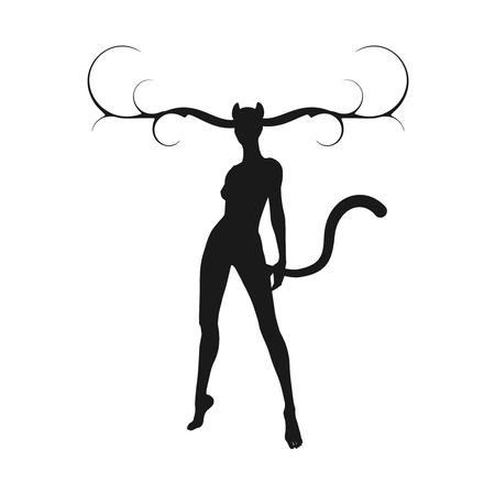 The silhouette of a woman with horns of the deer, cat ears and tail