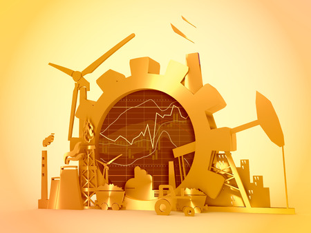 Energy and Power icons set on white backdrop. Sustainable energy generation and heavy industry. 3D rendering. Financial market chart. Stock Photo
