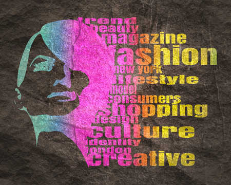Face front view. Elegant silhouette of a female head. Multicolor Illustration. Fashion Relative Keywords Cloud 版權商用圖片