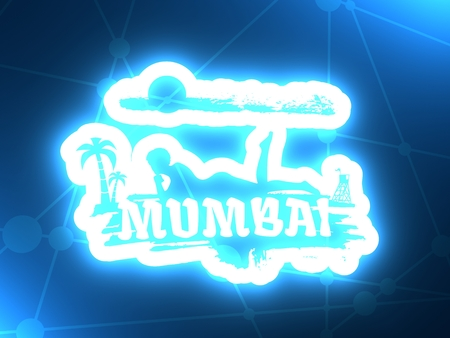 Young woman sunbathing on a beach. Silhouette of the relaxing girl on a grunge brush stroke. Palm and lifeguard tower on backdrop. Mumbai text. 3D rendering. Neon bulb illumination