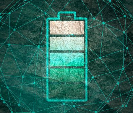 Eine Illustration der Zylinderbatterie. Einfaches Symbol. Hohe volle Energie Standard-Bild