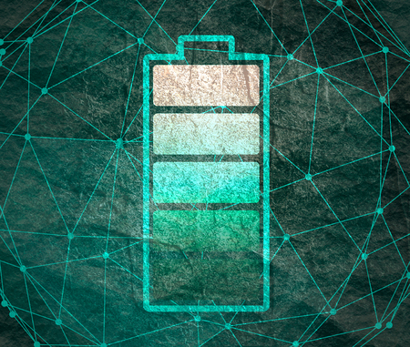 Una ilustración de la batería del cilindro. Icono simple. Energía de alto nivel completo Foto de archivo