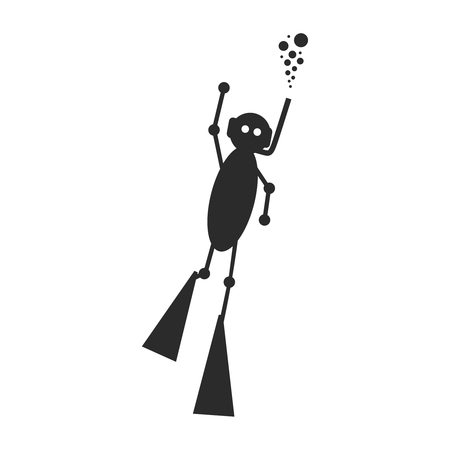 Silhouette of diver. Doodle style diver icon. The concept of sport diving.