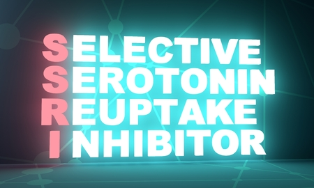 Acronym SSRI - Selective Serotonin Reuptake Inhibitor . Helthcare conceptual image. 3D rendering. Neon bulb illumination