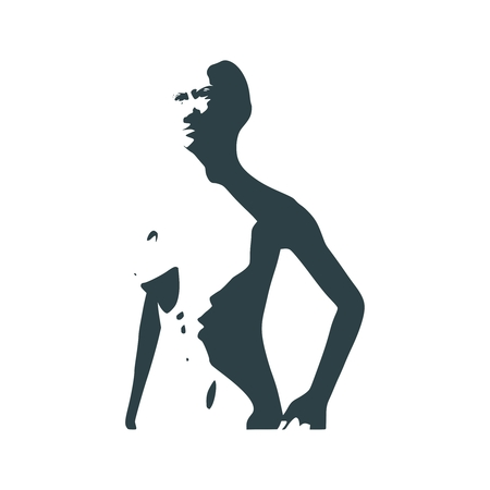 Naked young woman silhouette. Female torso sketch
