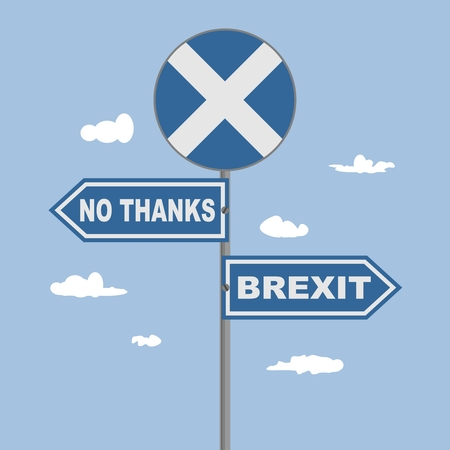 Image relative to politic situation between Great Britain and Scotland. Politic process named as brexit. National flag on road sign. No thanks and Brexit text