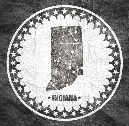 Image relative to USA travel. Indiana state map textured by lines and dots pattern. Stamp in the shape of a circle Stock Photo