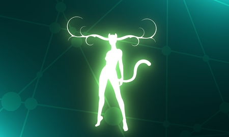 The silhouette of a woman with horns of the deer, cat ears and tail. 3D rendering