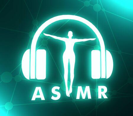Acronym ASMR - Autonomous Sensory Meridian Response. Health care conceptual image. Woman silhouette. Neon bulb illumination. 3D rendering Imagens