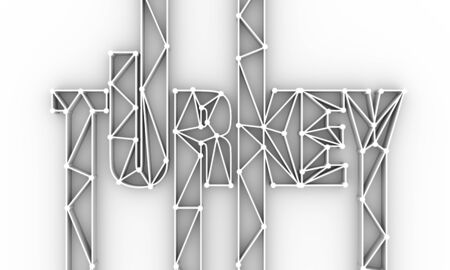 Turkey country name in geometry style design. Thin line letters. 3D rendering