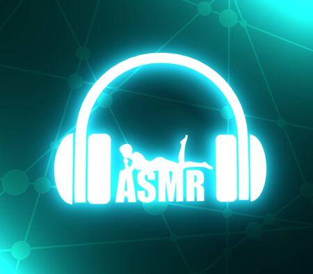 Acronym ASMR - Autonomous Sensory Meridian Response. Health care conceptual image. Woman silhouette. Neon bulb illumination. 3D rendering Фото со стока