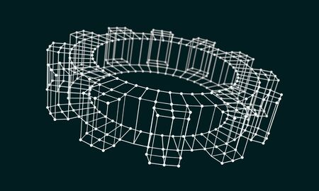Isometric wire frame gear model. Precision machinery relative backdrop. 3D rendering