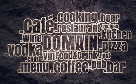 Domain names words cloud relative to food and drink theme. Internet and web telecommunication concept