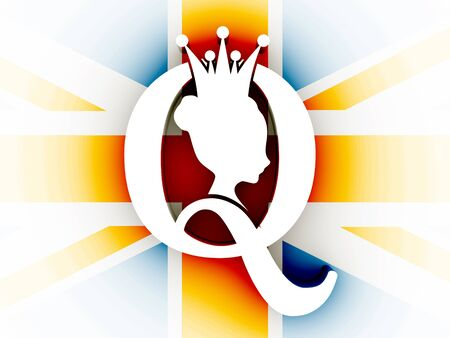 Vintage queen silhouette. Medieval queen profile. Elegant silhouette of a female head. Bun hairstyle. Royal emblem with Q letter. 3D rendering. UK national flag