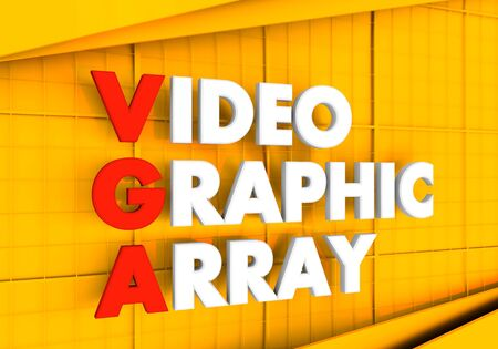 Acronym VGA - Video Graphic Array. Technology conceptual image. 3D rendering.
