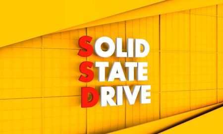 Acronym SSD - Solid State Drive. Technology conceptual image. 3D rendering.