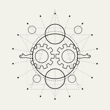 神秘的なジオメトリ記号。線形錬金術、オカルト、哲学的徴候。音楽アルバムカバー、ポスター、聖餐のデザインのために。占星術と宗教の概念。