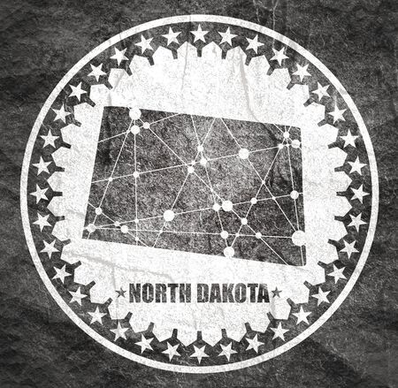 Image relative to USA travel. North Dakota state map textured by lines and dots pattern. Stamp in the shape of a circle
