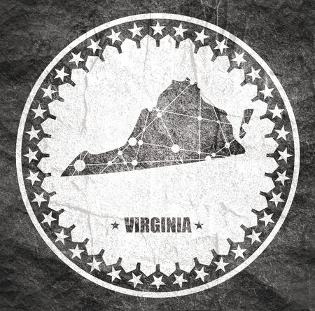 Image relative to USA travel. Virginia state map textured by lines and dots pattern. Stamp in the shape of a circle