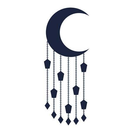 Eid Al Adha design with half moon and hanged lanterns. Happy Sacrifice Feast holiday Vettoriali