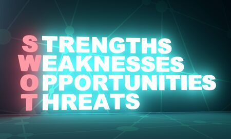 Acronym SWOT - Strengths, Weaknesses, Opportunities, Threats. Business and education conceptual image. 3D rendering. Neon bulb illumination Stock Photo