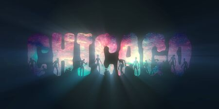 Chicago city name and zombie silhouettes on them. Elements of this image furnished by NASA. Deep space with stars and nebula Stock Photo