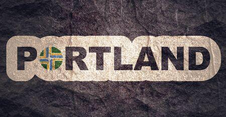 Portland city flag and name. Oregon state