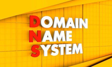 Acronimo DNS - Domain Name System. Immagine concettuale di Internet. Rappresentazione 3D. Archivio Fotografico