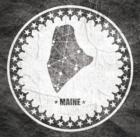 Image relative to USA travel. Maine state map textured by lines and dots pattern. Stamp in the shape of a circle