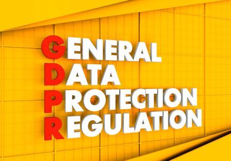 Acronym GDPR - General Data Protection Regulation. Internet conceptual image. Cyber security and privacy. 3D rendering. 免版税图像