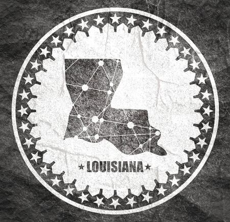 Image relative to USA travel. Louisiana state map textured by lines and dots pattern. Stamp in the shape of a circle Stock Photo
