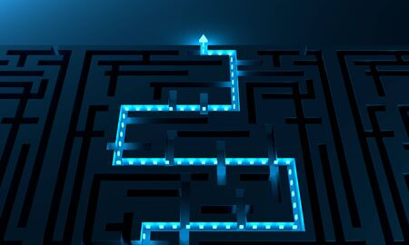 Illuminated path across rectangle labyrinth. Right way concept Stockfoto