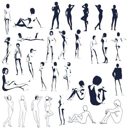 Beautiful fitness girls. Pretty woman silhouettes collection Ilustração Vetorial