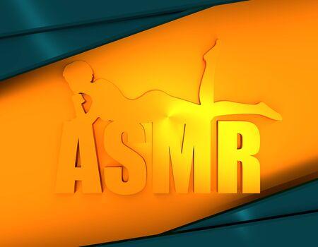 Acronym ASMR - Autonomous Sensory Meridian Response. Health care conceptual image. Woman silhouette. 3D rendering