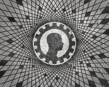 Silhouette of a mans head in gear icon. Mental health relative brochure, report design template. Scientific and technology. Geometry mosaic frame 스톡 콘텐츠