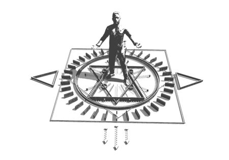 Animated mystery, witchcraft, occult and alchemy sign. Mystical vintage gothic geometry thin lines symbol around the businessman. 3D rendering Stock Photo