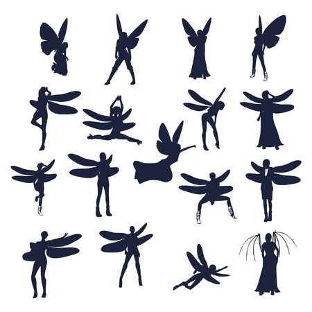 Young women silhouettes with wings of dragonfly and butterfly