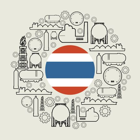 Energy and Power icons set. Design concept of natural gas industry. Circle with industrial line icons. Flag of the Thailand