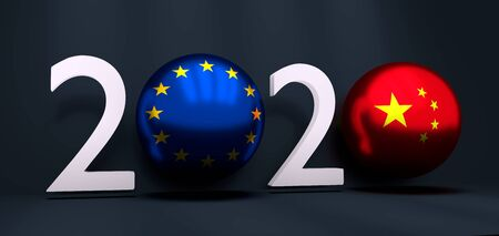 Communication concept. China and European Union business cooperation. 3D rendering. 2020 year number