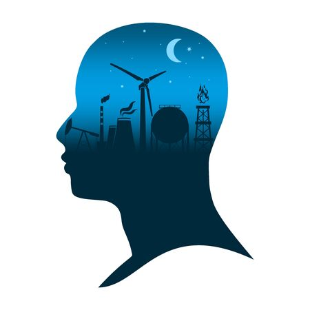 Head with industrial silhouettes. Energy and power industry. Double exposure. Moon and stars