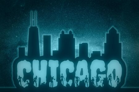 Chicago city name and zombie silhouettes on them. Stock Photo