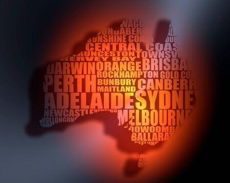 Map of Australia made from cities list. 3D rendering. Orange spotlight
