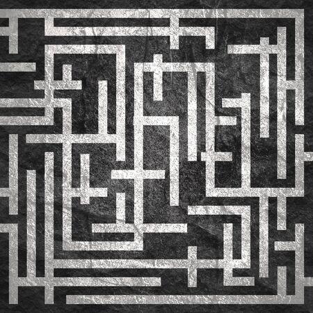 Czerwona ścieżka przez prostokątny labirynt. Koncepcja właściwego sposobu