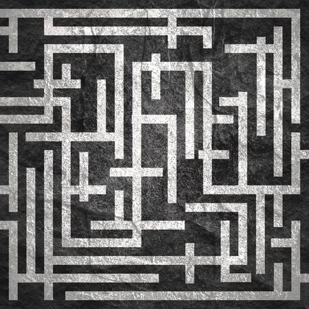 Red path across rectangle labyrinth. Right way concept